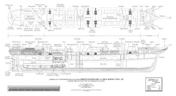 Deck and hull plan based on original builder's plans by © J. M. Caiella, www.caiella.com